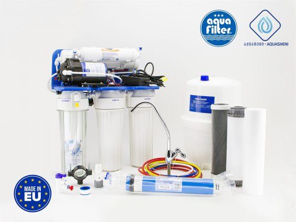 სასმელი წყლის ფილტრაციის დანადგარი უკუოსმოსი მემბრანის საშვალებით წყალს ფილტრავს ვირუსებისა და ბაქტერიებისაგან