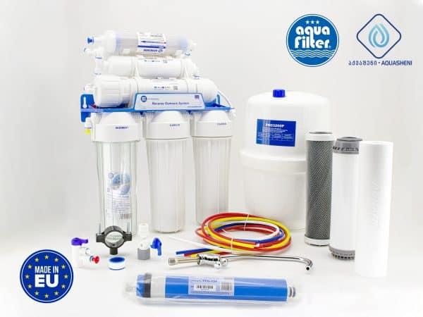 უკუოსმოსის სასმელი წყლის ფილტრაციის სისტემა ფილტრავს ონკანის წყალს