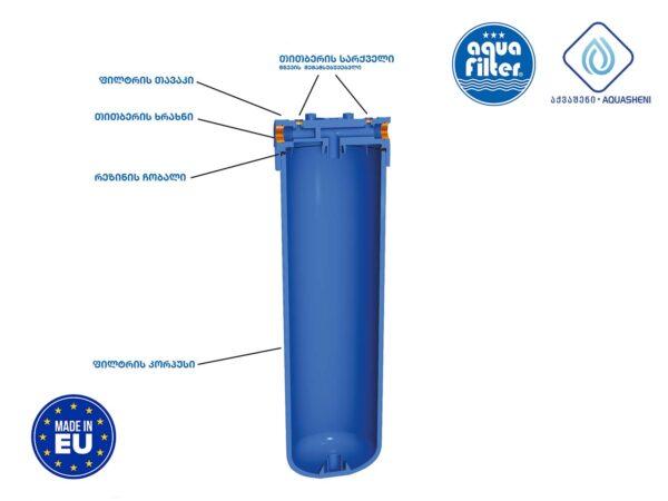 წყლის ფილტრი 3 ეტაპიანი 10 ინჩიანი BIG BLUE მეტალის სადგამით, წნევის საზომით და აქსესუარებით - HHBB20B